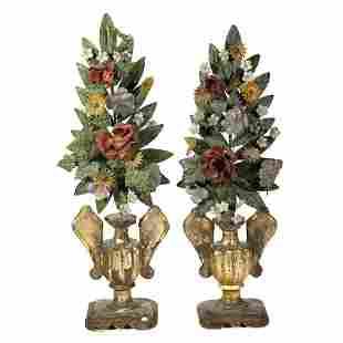 Pair Italian Gilt Wood Altar Urns with Tole Flowers