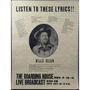 Willie Nelson. Listen to These Lyrics!! Concert Poster