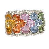 EFFY multi-color sapphire, diamond & 14k white gold