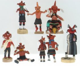 Eight Hopi Mudhead Kachina Dolls
