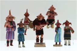 Six Hopi Mudhead Kachina dolls