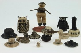 Collection Of Papago Basketry Items
