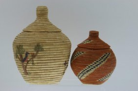 Two Eskimo Lidded Baskets