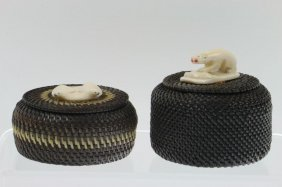 Two Eskimo Baleen Lidded Baskets