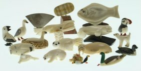 Collection Of Eskimo Miniature Ivory Or Bone Carvings
