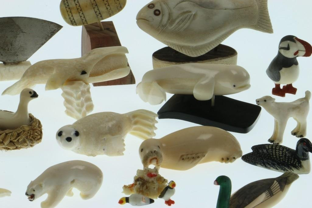 Collection of Eskimo miniature ivory or bone carvings - 3