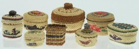 Eight Makah Miniature Baskets