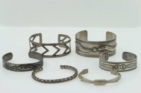 Five Navajo Bracelets; And An Unidentified Example