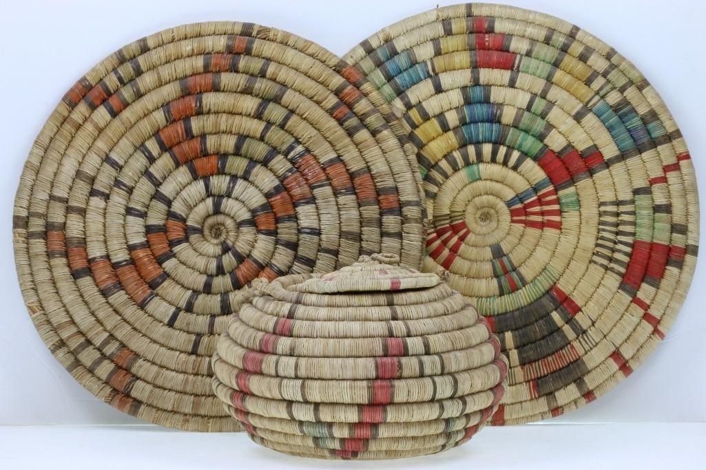 Three Hopi coiled baskets