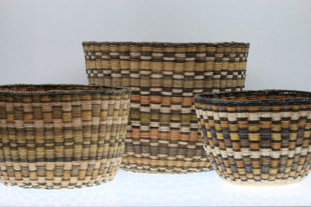 Three Hopi wicker baskets