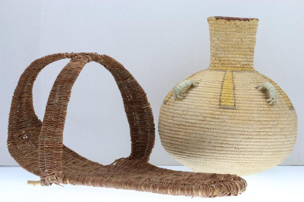 A Navajo basket and a Hopi mdoel cradle