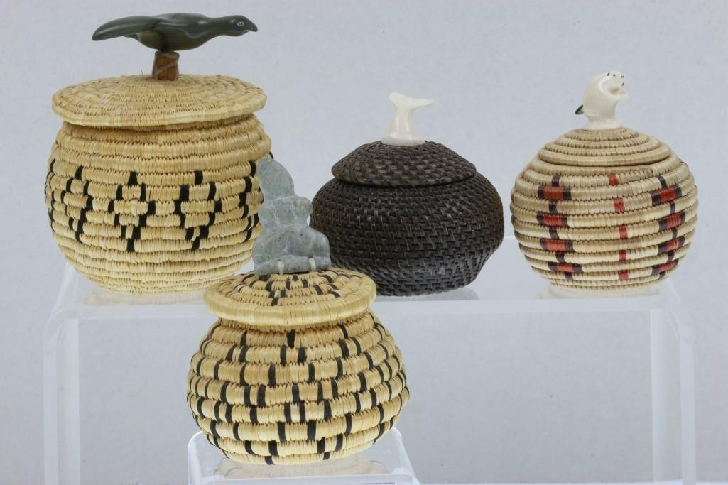Four Eskimo lidded baskets