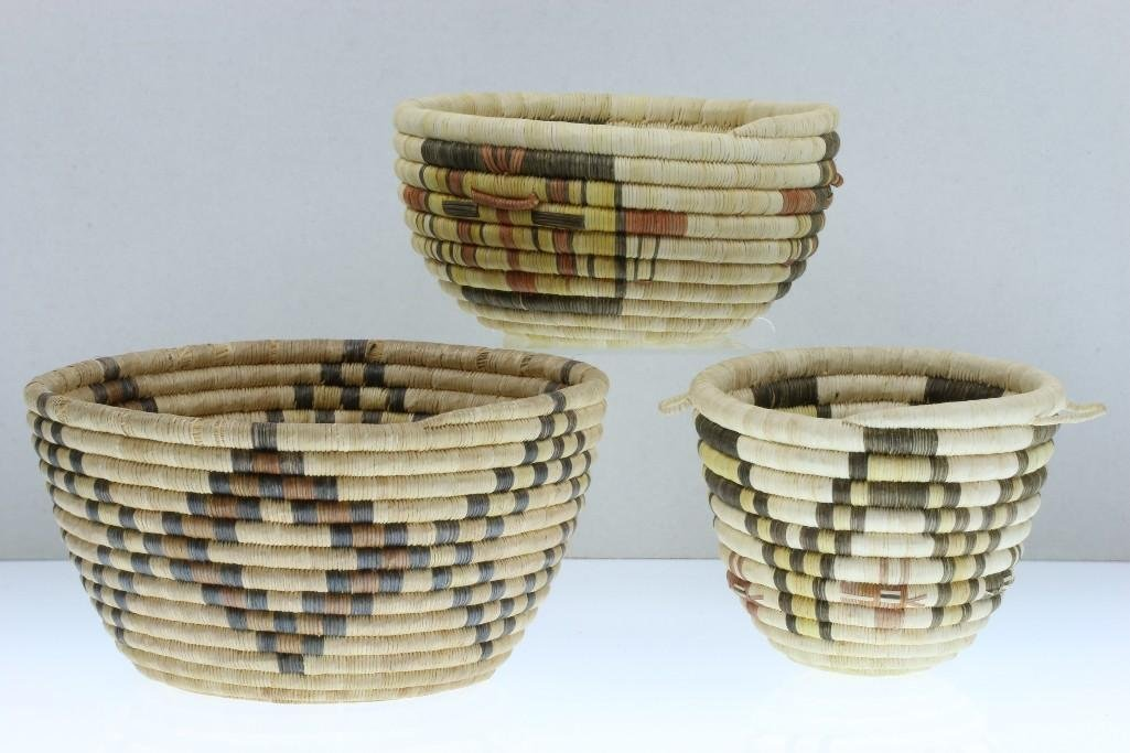 Three Hopi baskets