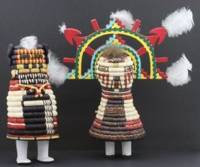 Two Hopi Basketry Kachina Dolls