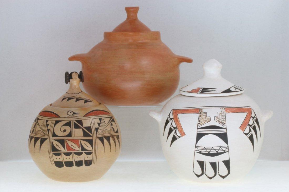Three Hopi lidded jars