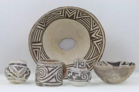 Five Anasazi Black-on-white Vessels