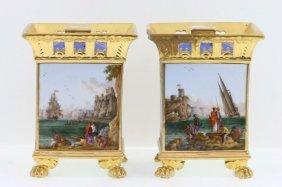 A Pair Of Paris Porcelain Bulb Vases, 19th Century