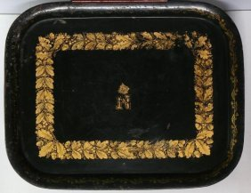 A French Napoleonic Gilt Stenciled Tole Tray, 19th Cent