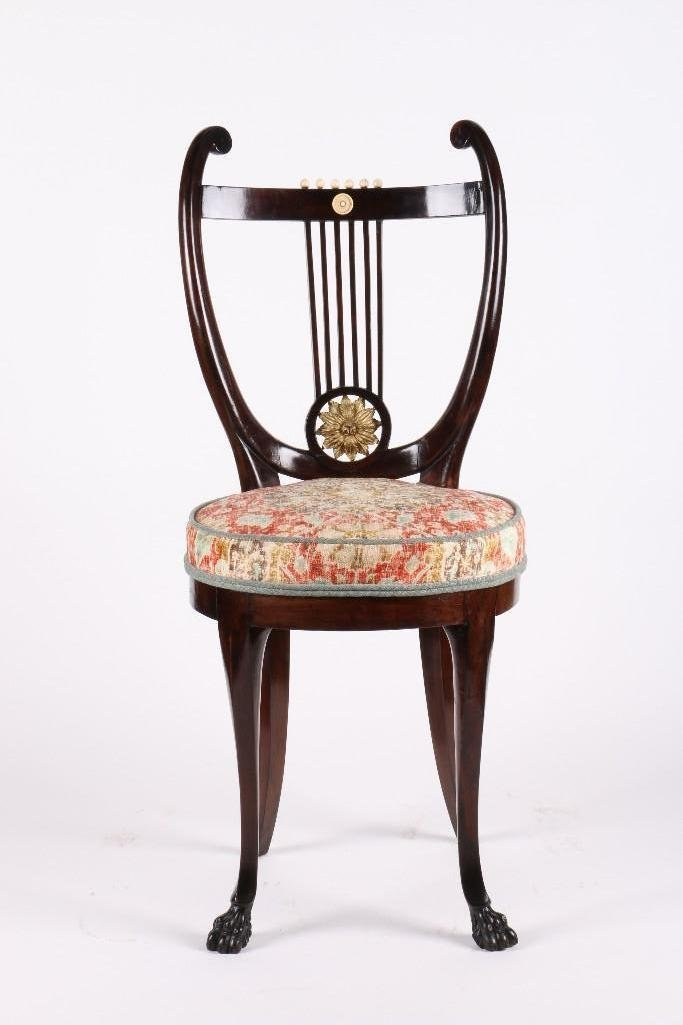 EMPIRE STYLE MAHOGANY LYRE CHAIR FROM NANTUCKET