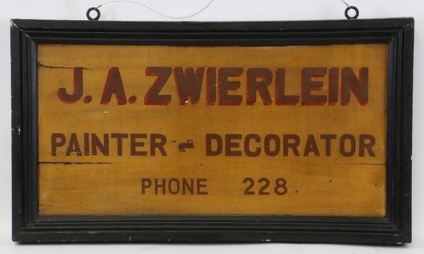 AMERICN ZWIERLEIN TRADE SIGN, EARLY 20TH CENTURY
