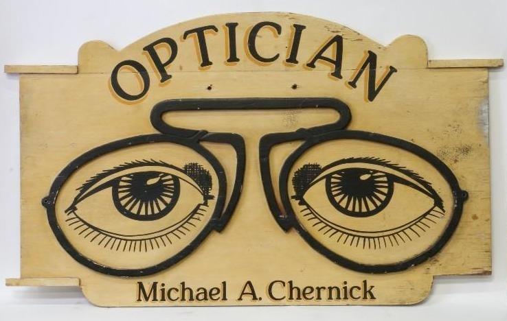 AMERICAN FOLK ART CHERNICK OPTICIAN TRADE SIGN