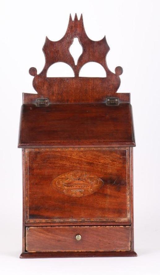 GEORGE III INLAID MAHOGANY CANDLE BOX