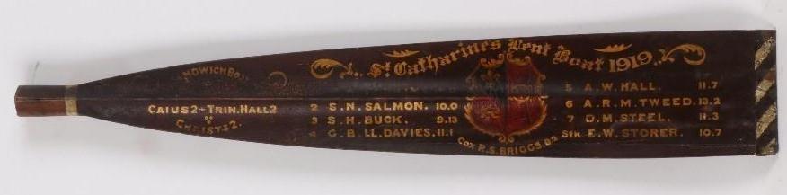 CAMBRIDGE TROPHY ROWING OAR, CATHARINE'S LENT BOAT 1919