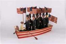 AMERICAN FOLK ART PATRIOTIC GROUP OF MEN IN A BOAT