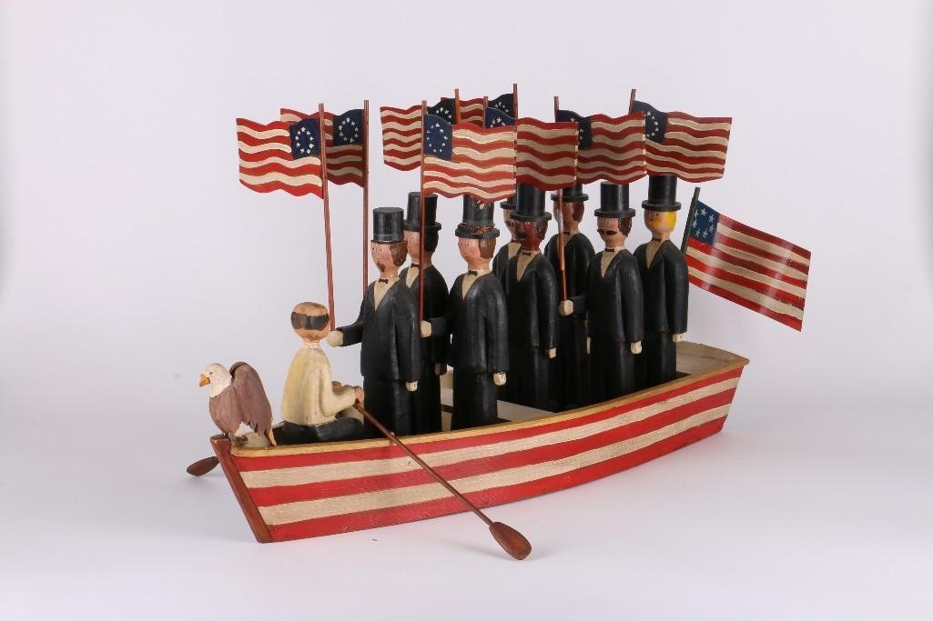 AMERICAN FOLK ART PATRIOTIC GROUP OF MEN IN A BOAT