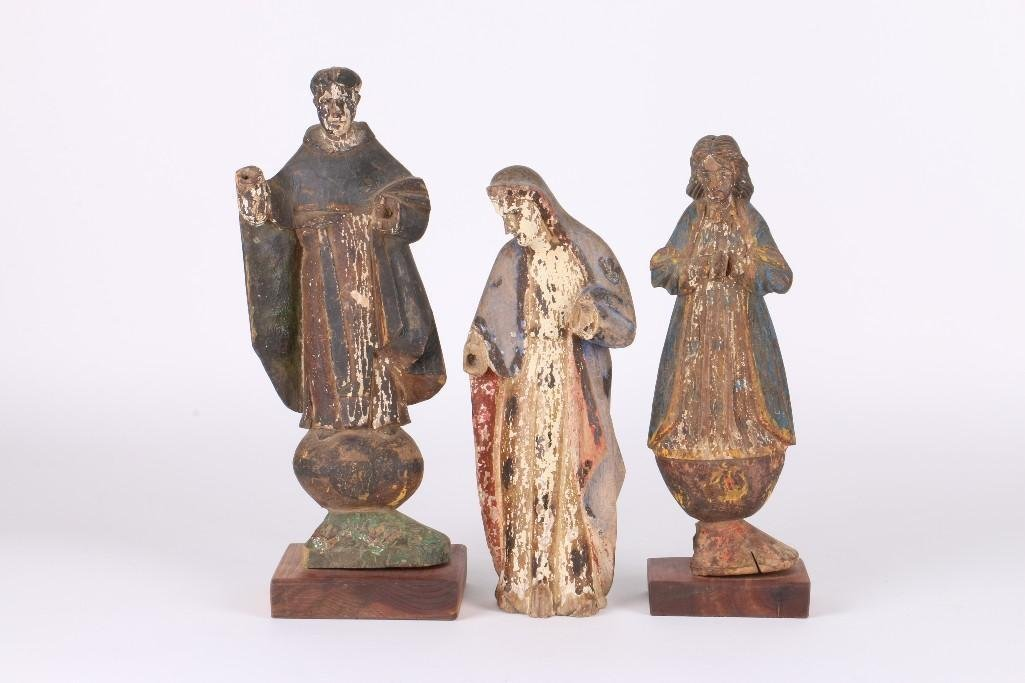 THREE SPANISH COLONIAL SANTOS FIGURES, 19TH CENTURY