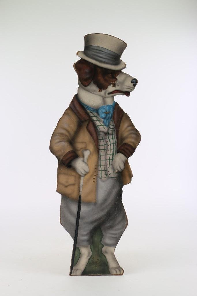 PAINTED WOOD DAPPER DOG DUMMY BOARD, BARRETT & BULLER