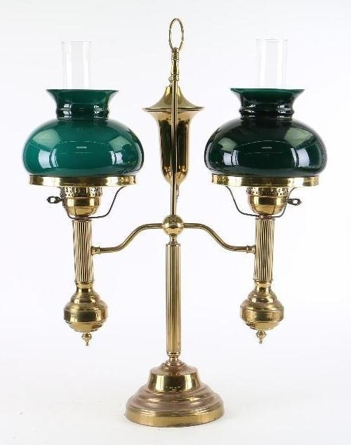 REPRODUCTION BRASS DOUBLE STUDENTS OIL LAMP