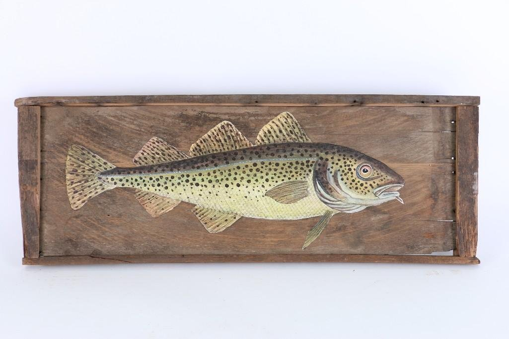 TWO FOLK ART PAINTED WOOD PANELS: SALMON & TROUT