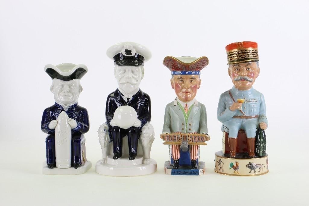 FOUR WILKINSON TOBY JUGS WWI ALLIED COMMANDERS,
