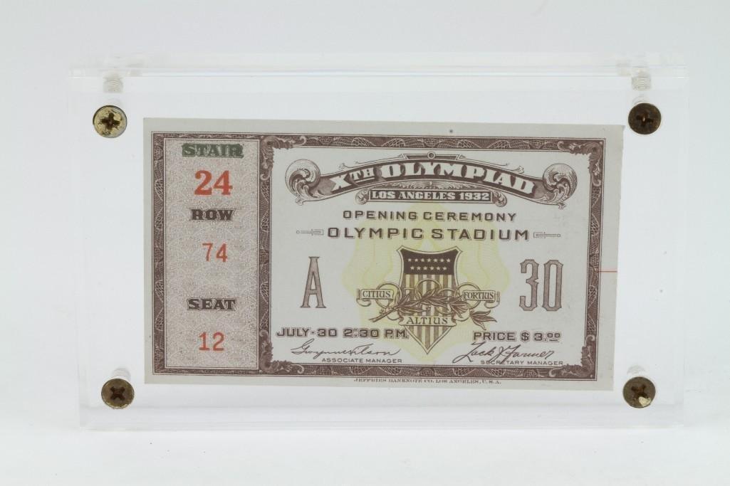 1932 OLYMPICS ORIGINAL OPENING CEREMONY TICKET