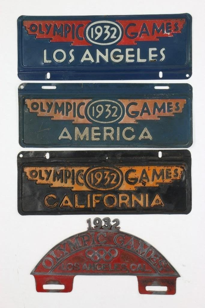 1932 OLYMPICS LICENSE PLATE TOPPER AND 3 LICENSE PLATES