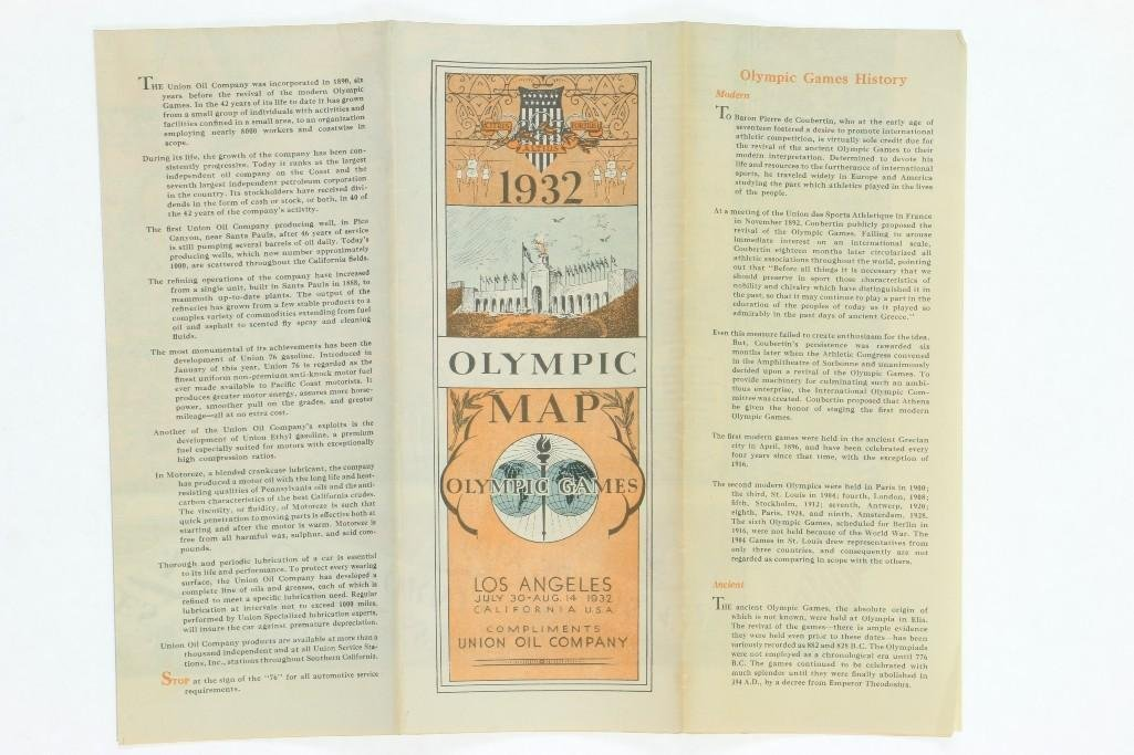 1932 LOS ANGELES OLYMPIC MAP SHOWCASING OLYMPIC VILLAGE