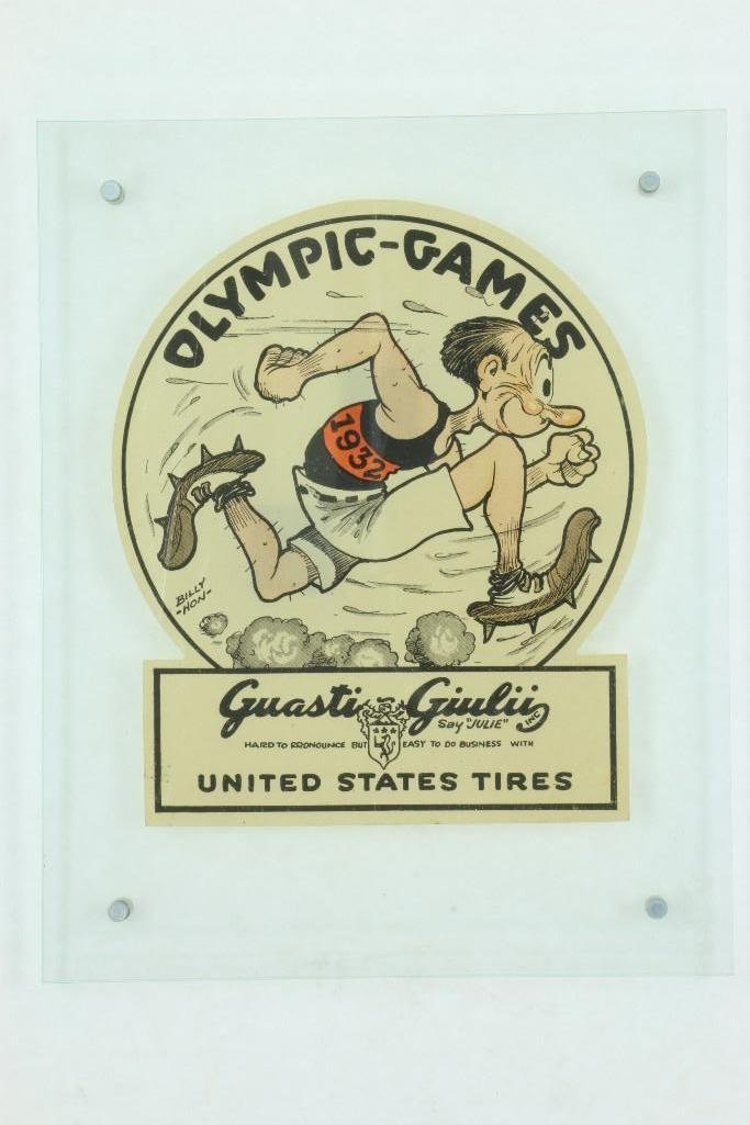 1932 OLYMPIC GAMES WINDOW DECAL, ART BY BILLY HON