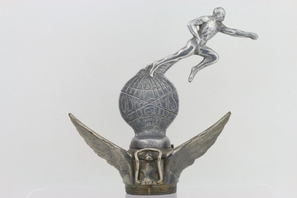 1932 LOS ANGELES OLYMPIC MASCOT ON WINGED RADIATOR CAP