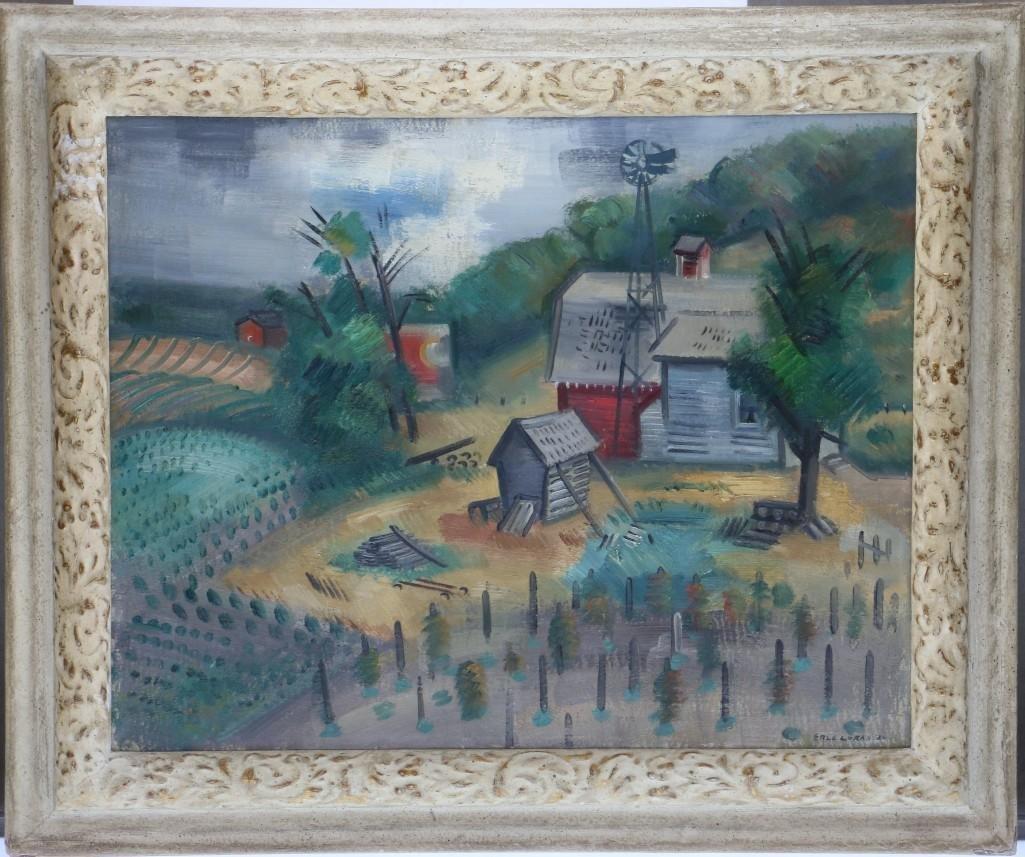 Erle Loran  (1905 - 1999) landscape with buildings