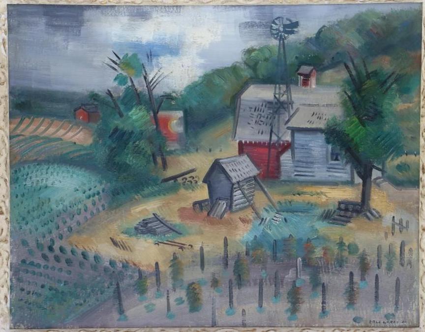 Erle Loran  (1905 - 1999) landscape with buildings - 2