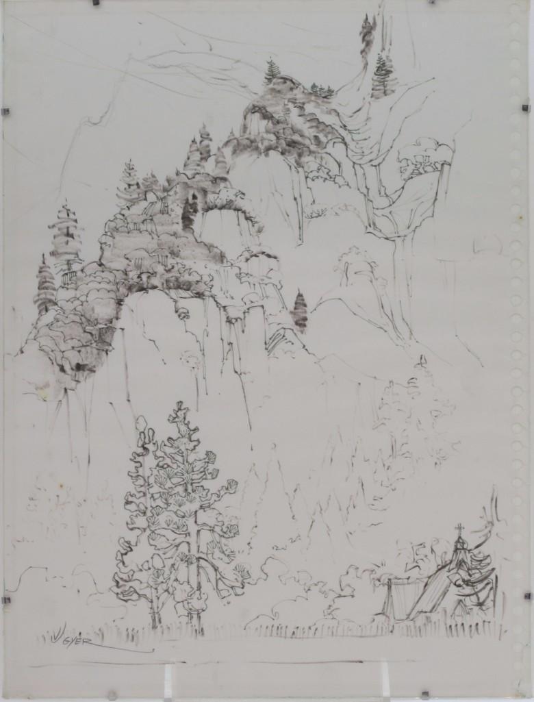 Jane Elizabeth Lingerfield Gyer  (1925 - 2004) Drawing