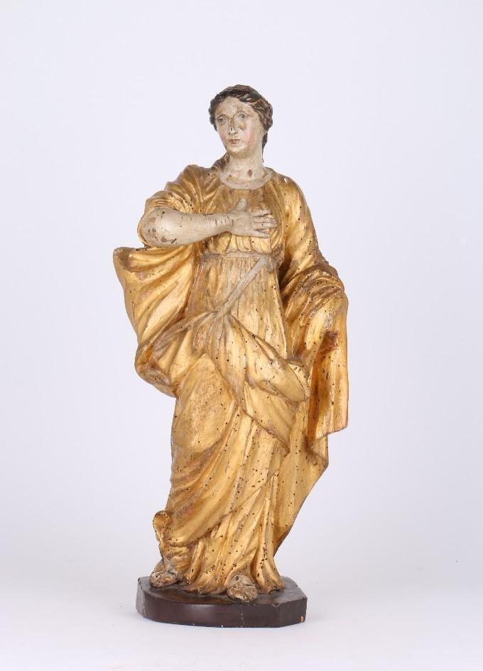 BAROQUE WOOD, POLYCHROME & GILT FIGURE OF A WOMAN