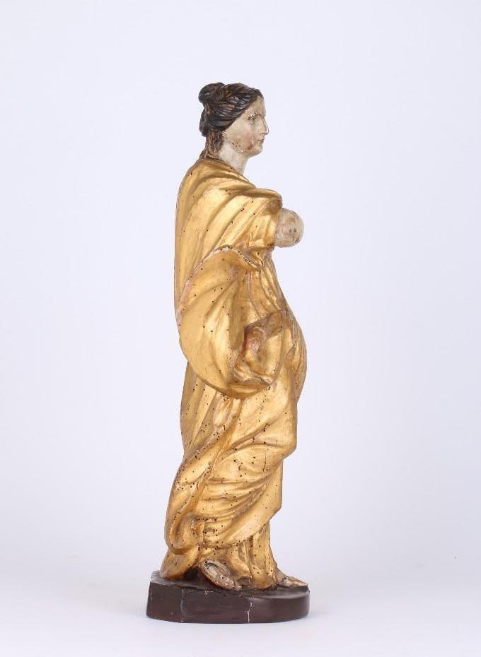 BAROQUE WOOD, POLYCHROME & GILT FIGURE OF A WOMAN - 4