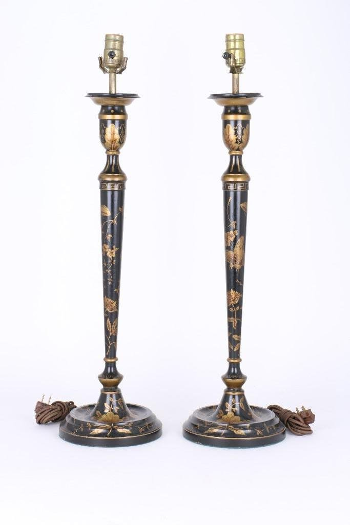 PAIR OF CHINOISERIE BLACK & GILT LACQUERED WOOD LAMPS