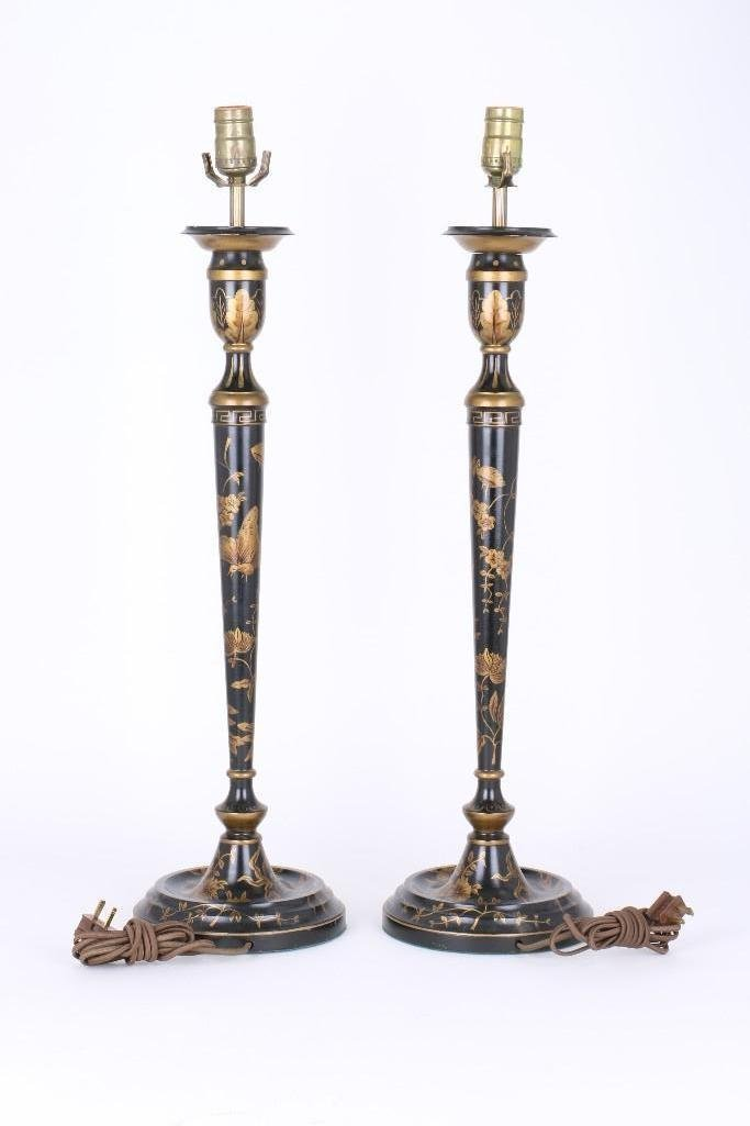 PAIR OF CHINOISERIE BLACK & GILT LACQUERED WOOD LAMPS - 2