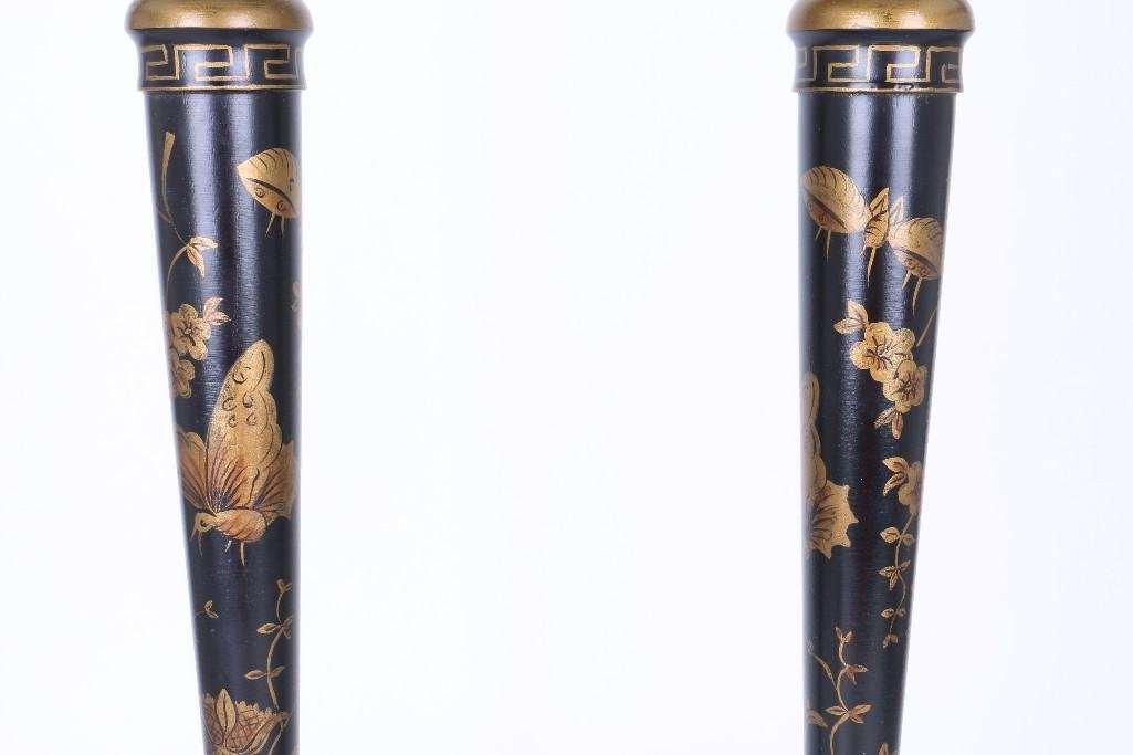 PAIR OF CHINOISERIE BLACK & GILT LACQUERED WOOD LAMPS - 3