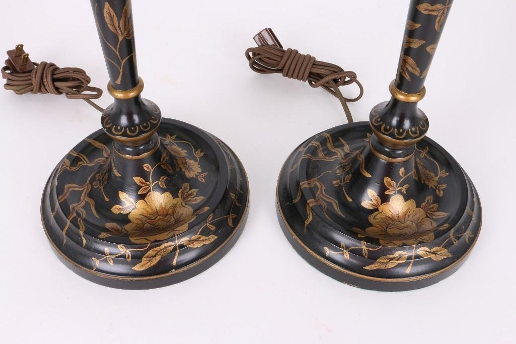 PAIR OF CHINOISERIE BLACK & GILT LACQUERED WOOD LAMPS - 4