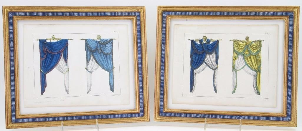 PAIR OF FRENCH HANDCOLORED PRINTS OF DRAPERIES