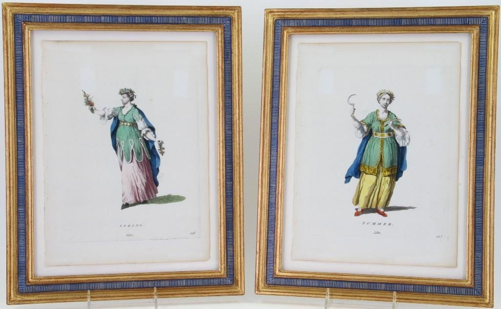 PAIR OF FRENCH HANDCOLORED PRINTS: SPRING & SUMMER